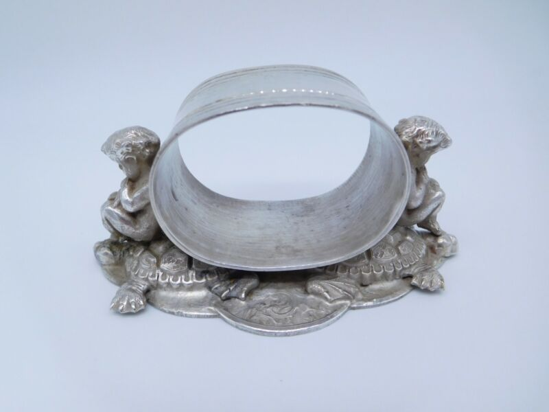 LOVELY VICTORIAN SILVER PLATED FIGURAL NUDE ANGEL CHERUBS ON TURTLES NAPKIN RING