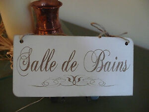 Shabby chic wooden salle de bains bath door bathroom sign - Plaque pvc salle de bain ...