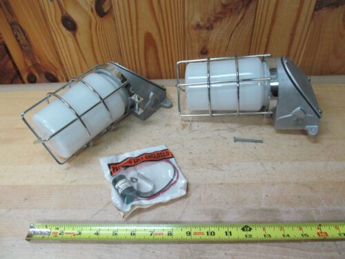 Pair of 2 Industrial Shielded Loading Dock Explosion Proof Light Fixtures
