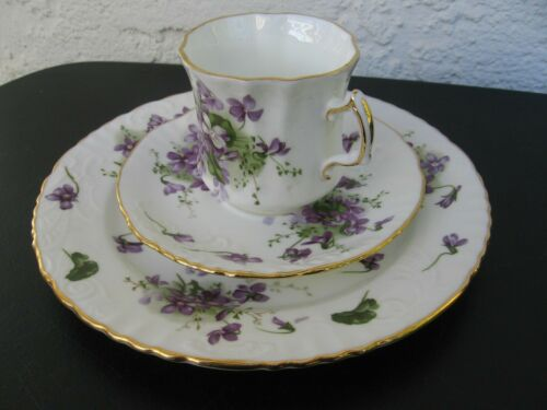 "Hammersley dessert serving plate tea & cup ""Victorian Violets"" Bone China"