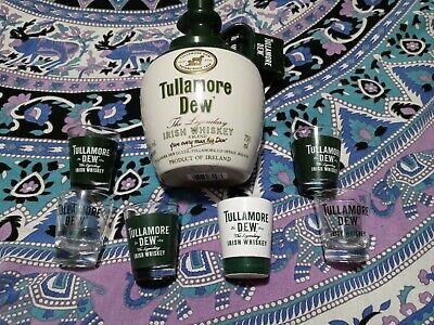 Vintage Tullamore Dew Finest Irish Whiskey Jug Bottle & 6 Shot Glasses 750ml...