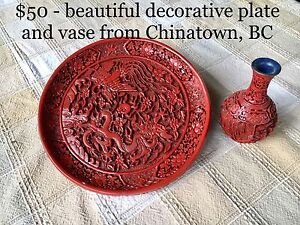 Beautiful Chinese decorative plate and vase