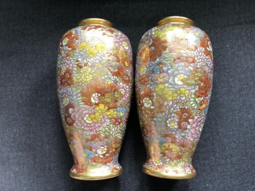 Gorgeous PEONY KOBE Porcelain Pottery Vases MATCHING PAIR Flowers Floral GOLD