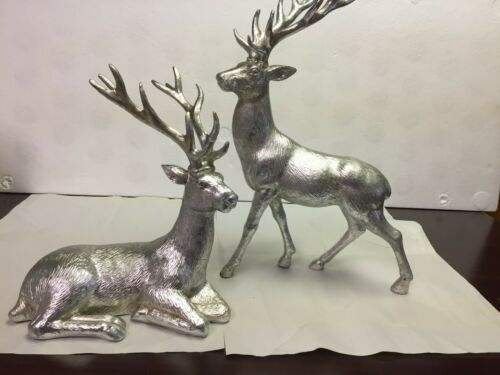 Bon Ton Reindeer Deer Statue Figurine White Silver Set/2~Christmas Decor