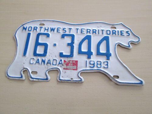 1983 NORTHWEST TERRITORIES CANADA LICENSE PLATE 16-344