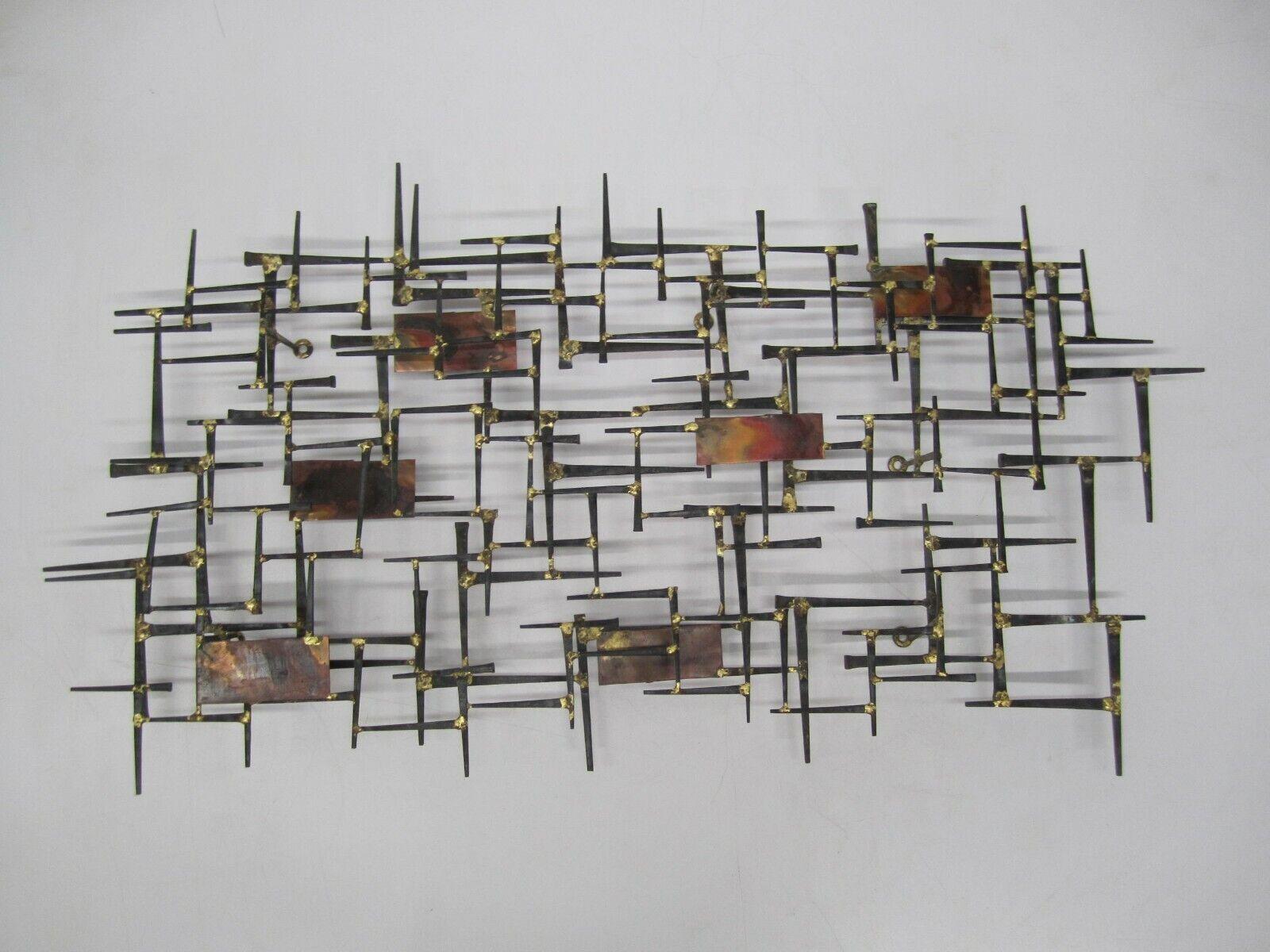 Vtg MCM Abstract Brutalist Nail Art Wall Sculpture Brass Rectangle 31 X 16  - $139.95