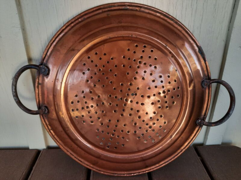 """Early Vintage 12"""" Copper Strainer, Sieve, Colander w Wrought Iron Handles"""