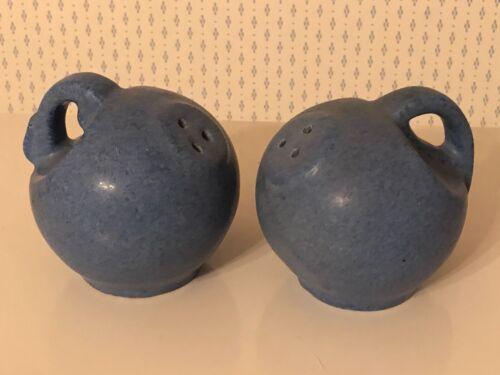 VTG Niloak Pottery Jug Salt and Pepper Shakers Matte Blue