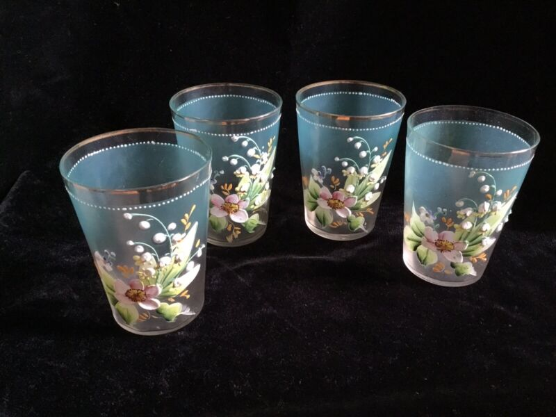 VICTORIAN HAND PAINTED FLOWERS~GOLD RIMMED DRINKING / WATER GLASS~SET OF FOUR
