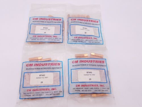 "100 Pcs CM Industries B-7493 Contact Tip 3/32"" MIG Welding Gun Copper B7493 NOS"