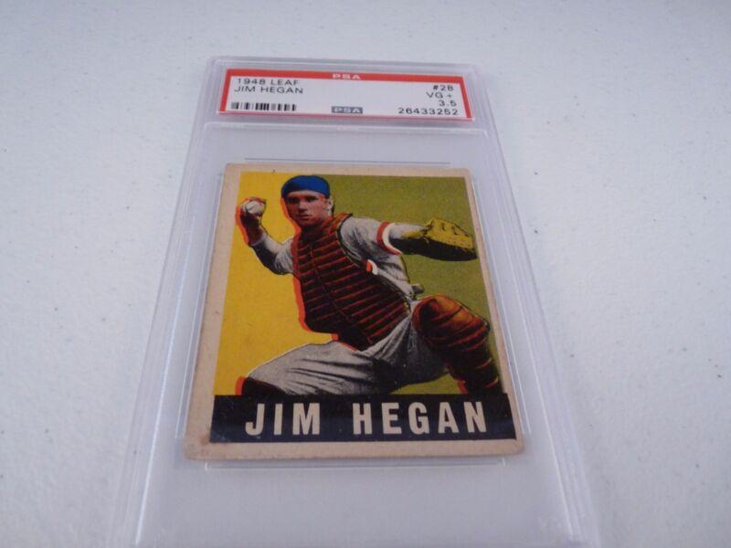 Jim Hegan 1948 Leaf #28 Baseball Card PSA Graded Slabbed VG Very Good + VG+ 3.5