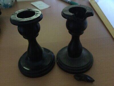 2 Victorian Ebony Candlesticks