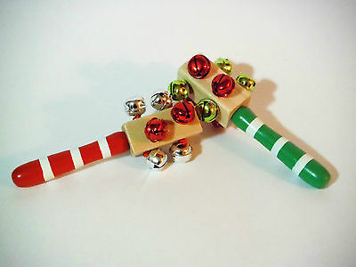 JINGLE SLEIGH BELL RATTLERS..AUTHENTIC JINGLING SLEIGH BELLS SOUND.WOODEN HANDLE (Jingle Bell Sound)