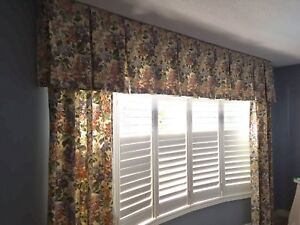 Custom made curtains and valance, fully lined.