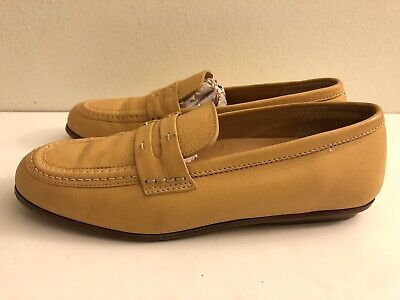 HOGAN Women's 37 Tan Leather Moccasins Penny Loafers Style Shoes SIZE 6.5-7
