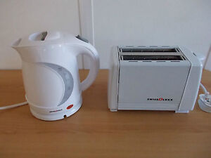 Electric Low Watt 1.2L White Swiss Luxx Compact Kettle AND Toaster Caravan