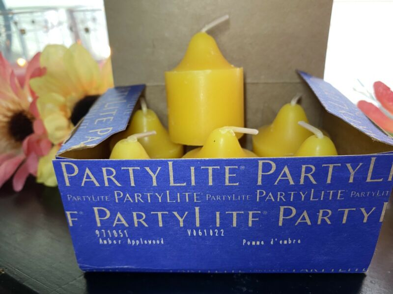 Partylite Scented Candles 1 Box AMBER APPLEWOOD Votive Candles NIB 6pc