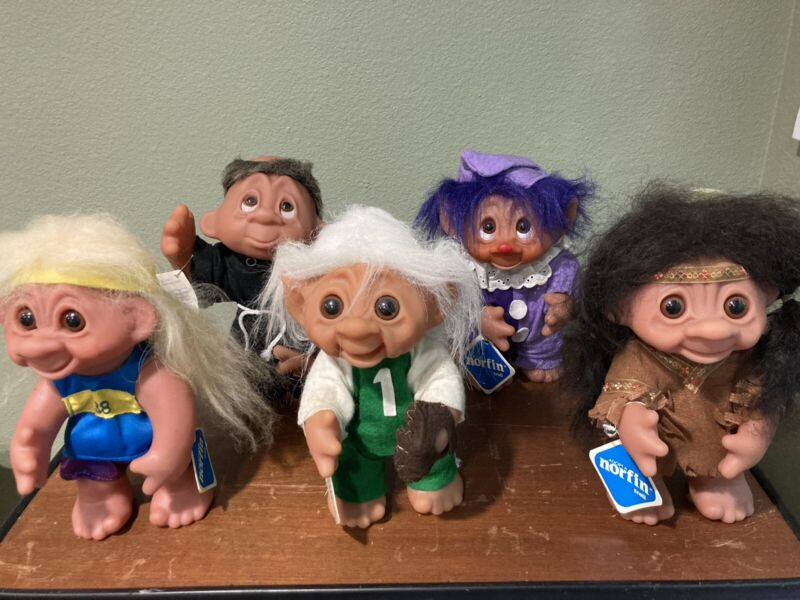 "VTG 1977 Dam Things Troll Norfin Doll 9"" LOT of 5 w/ Tags Denmark 604 60529"