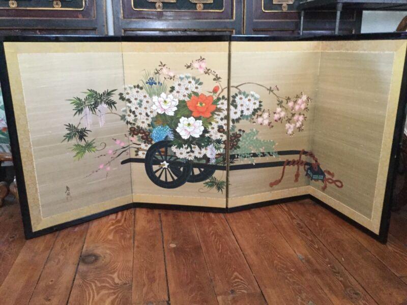 Vintage Japanese Byobu Yonkyoku Flower Cart Signed Gold Leaf Folding Screen