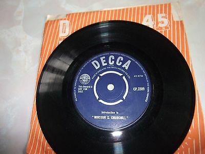 "INTRODUCTION TO  "" WINSTON S. CHURCHILL "" - ONE-SIDED 45RPM SINGLE ON DECCA."