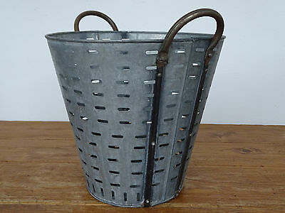 N2687 Olivenkorb ~ Eisenkorb OLIVEN ~ OLIVENEIMER verzinkt ~ olive bucket
