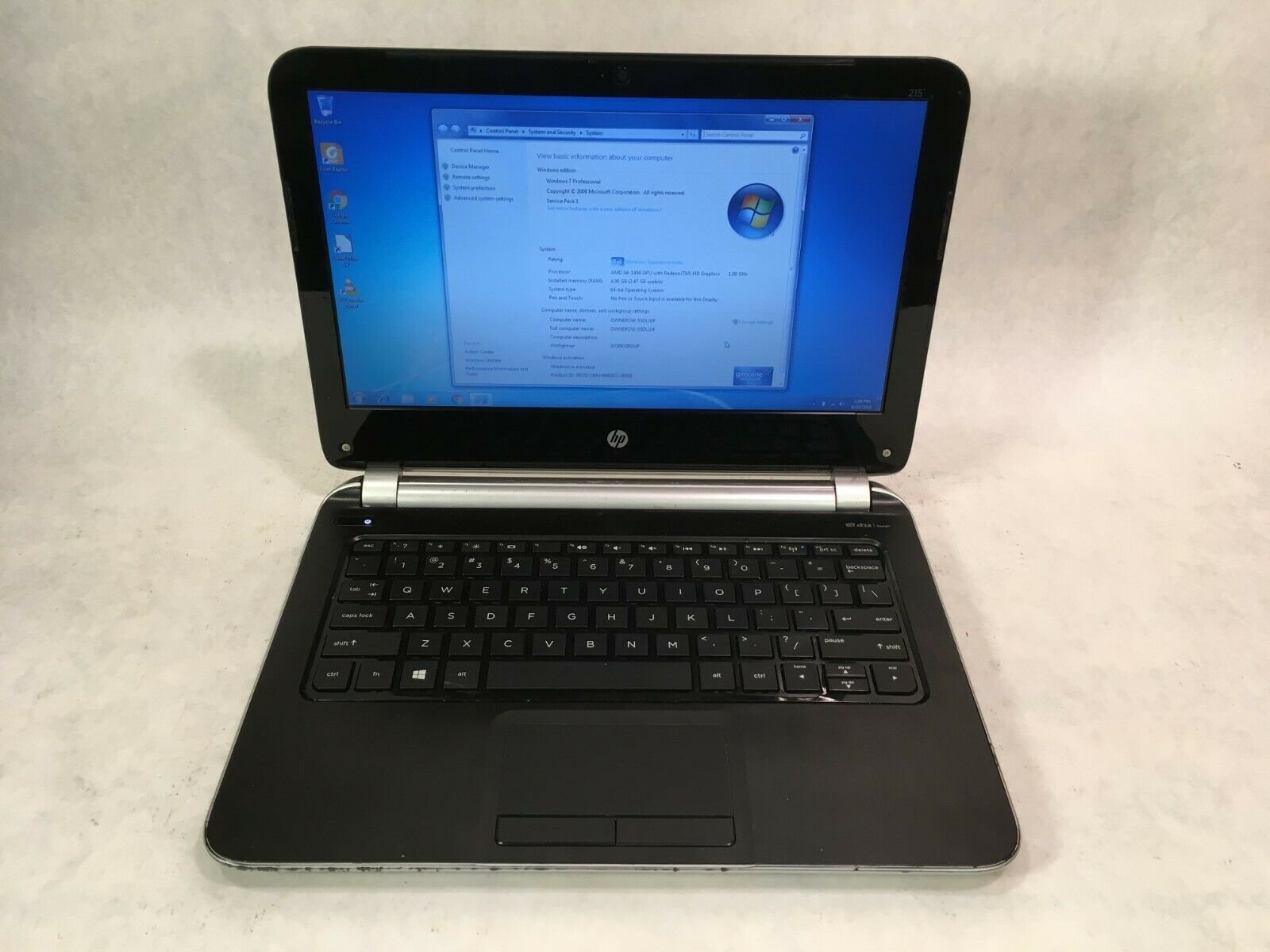"Laptop Windows - HP 215 G1 11.6"" Laptop AMD 1.0GHz / 4GB RAM / 320GB HDD / Windows 7"