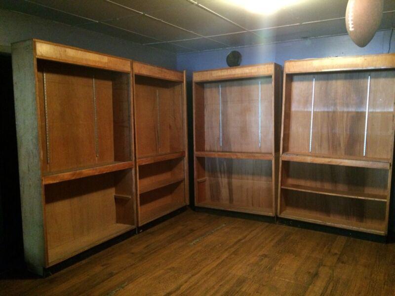 Set of 4 Vintage Art Deco Store Display Shelves Antique Wood Wooden