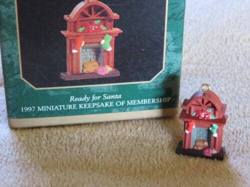The Night Before Xmas Ready for Santa Fireplace Hallmark miniature ornament 1997