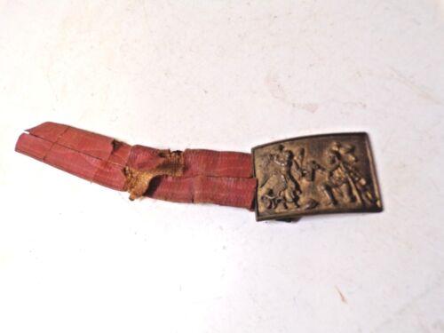 Old Brass Belt Buckle Masonic Temple Angel Knights
