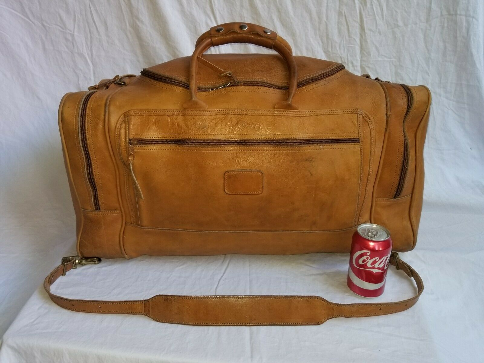 Vintage ORVIS British Tan Leather 26 Duffel Bag MADE IN USA - $149.00