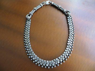 "Old Tribal Rajasthan Indian Sterling Choker Necklace 16"" 68 gr."