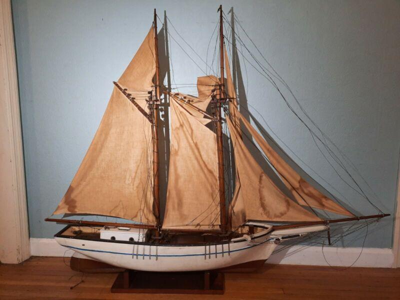 "54x9x45 Vintage Wood Model Boat Ship ""Young America"" USA 2 Masts Sails Sailing"