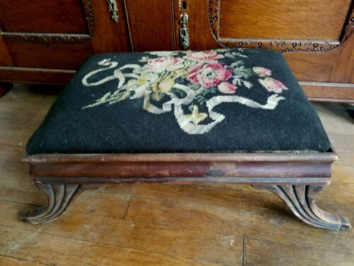 Antique Victorian Foot Stool/Ottoman Flower/Roses Needlepoint Footstool Floral