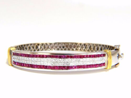 5.30ct Natural Princess Cut Ruby Diamonds Bangle Bracelet 18kt+