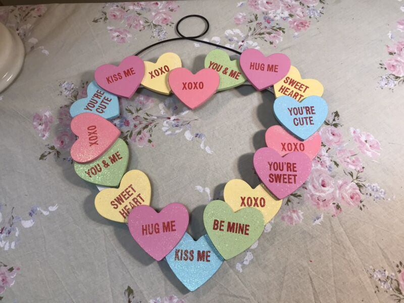 Valentine's Day Wooden Sweethearts Conversation Hearts Wreath Wall Decor Hanging