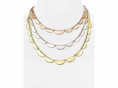 Kate Spade Sweetheart Scallop Necklace NWT Triple Strand Scallop RoseGold Silver