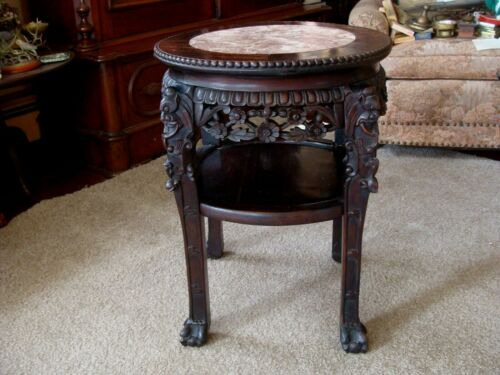 Ornate Oriental Chinese Carved Wood Marble Top Side Table Plant Stand Antique