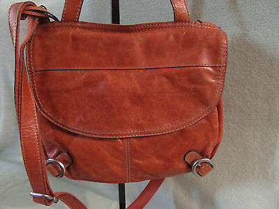 (Fossil Orange Leather/Canvas Large Cross/Hand/ Shoulder Bag Really Nice! New )