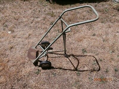 Rare Vintage Fibre Metal 3 Wheel Retractable Dolly Hand Truck Cylinderbarrel