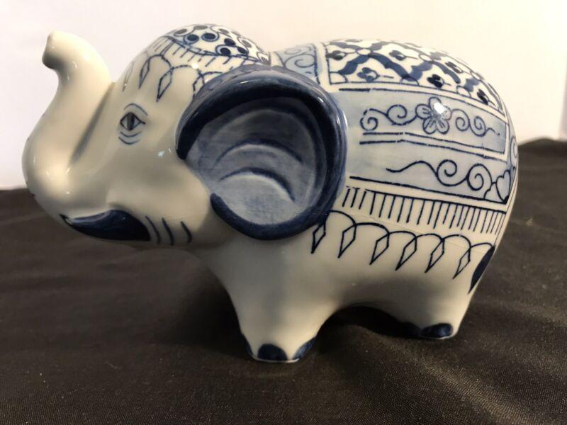 Vintage Blue and White Porcelain/Ceramic? Elephant Bank (Small)