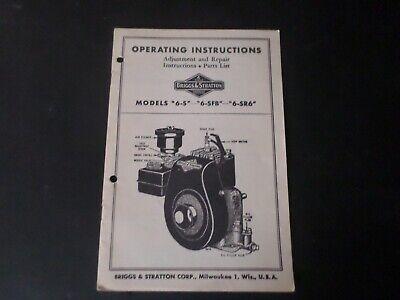 Vintage Operating Instructions Briggs Stratton Models 6-s 6-sfb 6-sr6