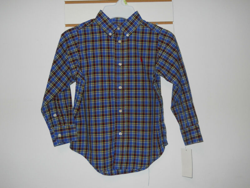 Ralph Lauren Size 4 4T Blue Plaid Cotton New Boys Button Down Long Sleeve Shirt