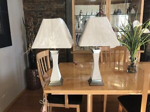 2 ivory micro suede satin nickel lamps