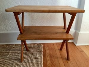 Vintage Mid Century Hockey Stick Table Hand Crafted