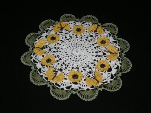 New Hand Crocheted Doily Sunflowers/Butterflies