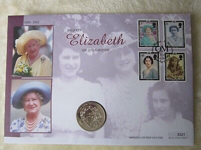 Queen Mother Memorial Coin First Day Cover with Royal Mail's Queen Mother Stamps