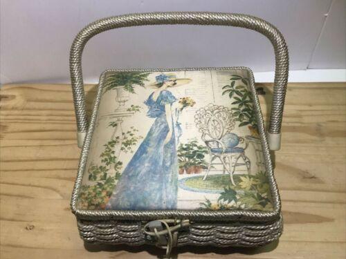 "Vintage Sears Roebuck Wicker Sewing Basket 8"" x 8"" x 4"" w/Decorative Picture Lid"