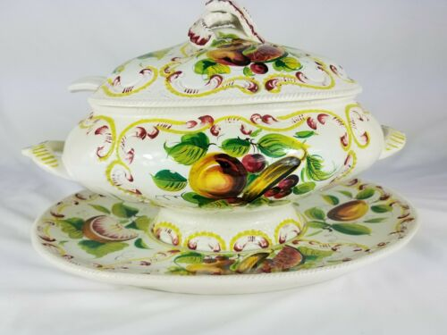 Vintage Italian Soup Tureen with Platter & Ladle Hand Painted Fruit ITALY