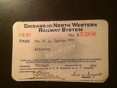 Chicago and North Western Railway System 1931 railroad pass