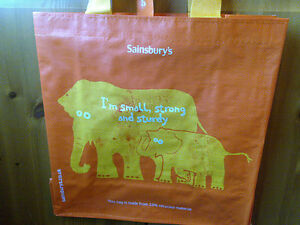 SAINSBURYS RELIABAG ELEPHANT REUSABLE MEDIUM SHOPPING BAG - BNWT (NEW)